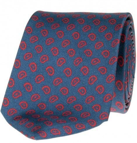 SL Foulard Printed Tie - Paisley Pattern, Blue & Red - Mark marengo