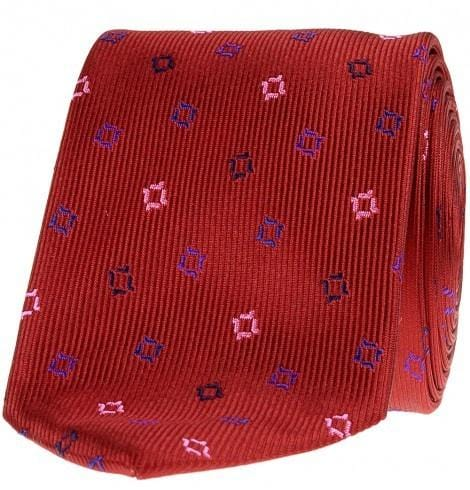 SL Jacquard Silk Tie- Flying Squares- Deep Red,Blue,Pink &White - Mark marengo
