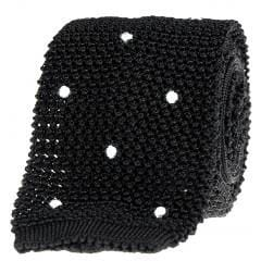 Blue Label Knitted Tie - Black & White - Mark marengo