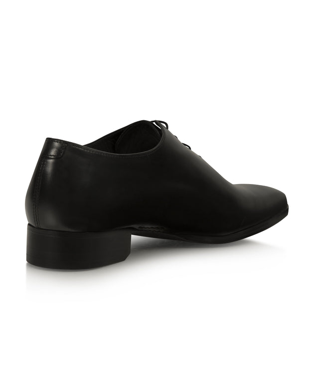 Black Hand-Stitched Wholecut Shoes
