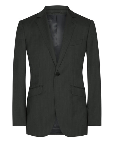 Charcoal Grey Herringbone Suit - Mark marengo