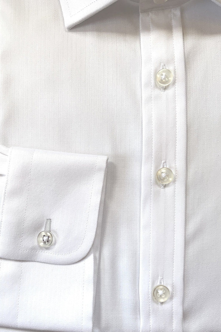 White Fine Herringbone Shirt