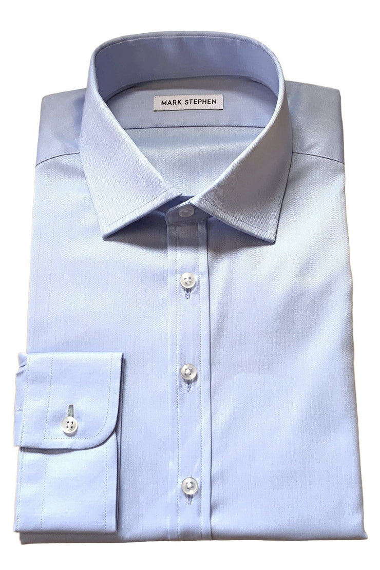 Mark Stephen Blue Fine Herringbone Shirt