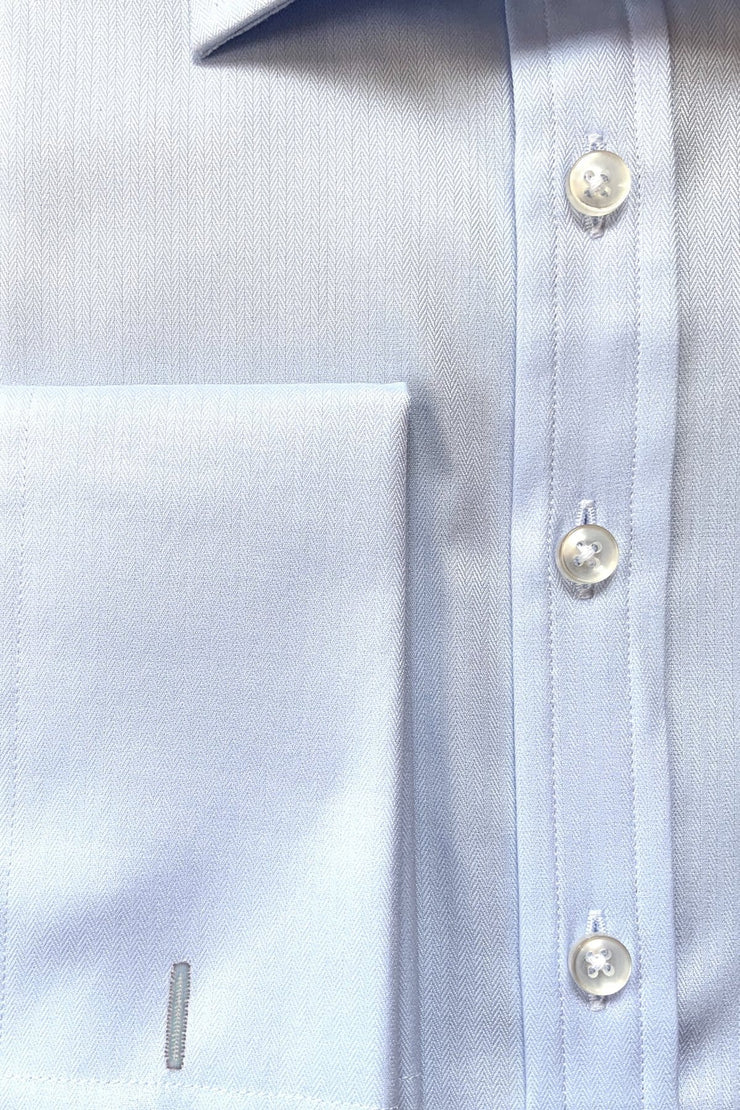 Mark Stephen Light Blue Fine Herringbone Shirt