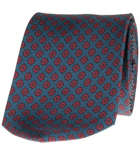 SL Foulard Printed Tie. Made in Italy. Self Lined. Star of David - Light Blue & Red - Mark marengo