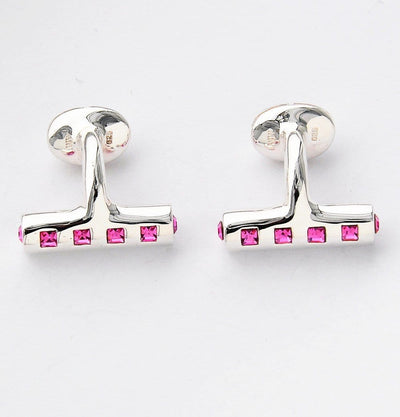Silver Swarovski Crystal Bar Cufflinks - Mark marengo
