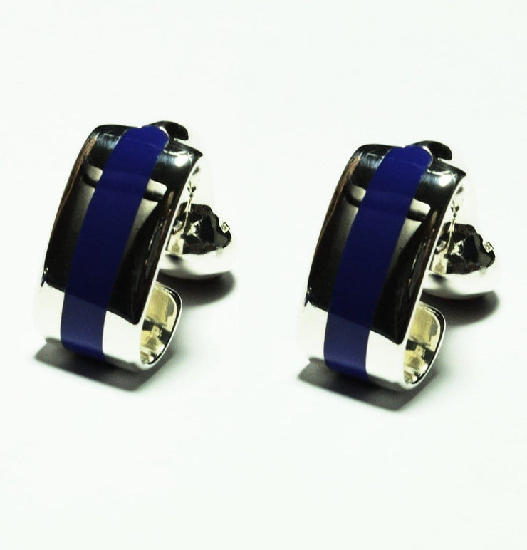 Silver Blue Wraparound Cufflinks - Mark marengo