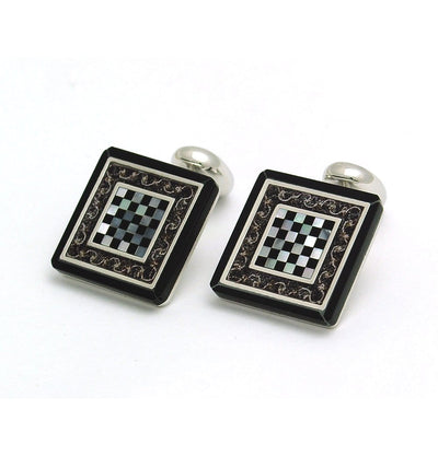 Chess Cufflinks - Onyx & Mother of Pearl