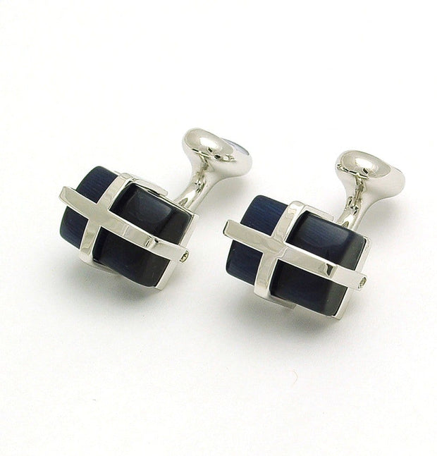 Cats Eye Dark Blue Cufflinks - Mark marengo