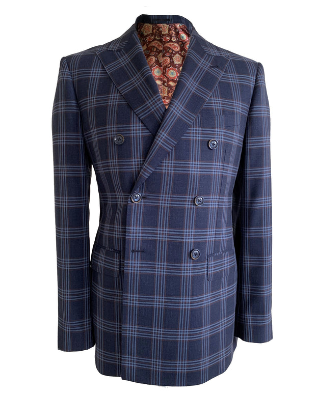 Blue Double Breasted Check Jacket