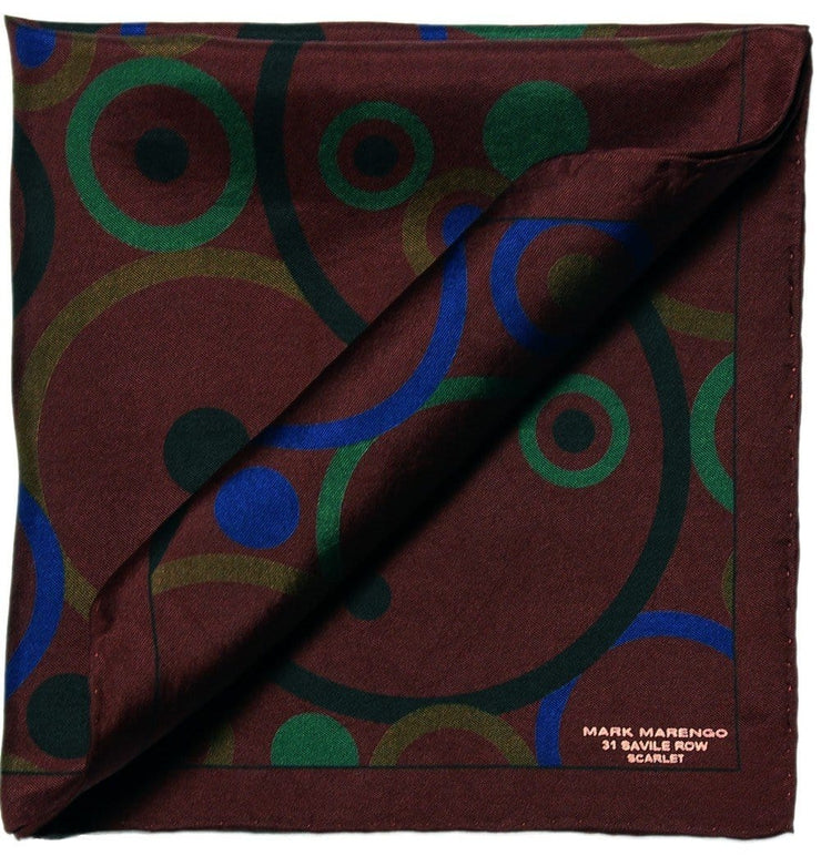 Wine Pocket Square - Concentric Circles