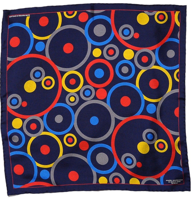 Navy Pocket Square - Concentric Circles - Mark marengo