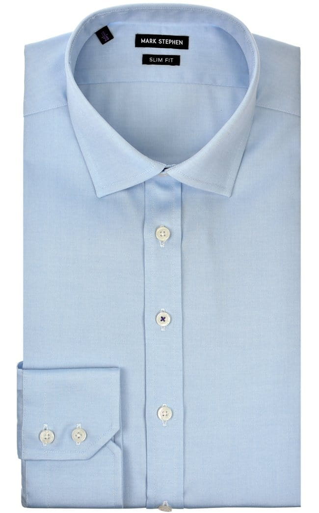 Mark Stephen Slim Fit Blue Pinpoint Shirt