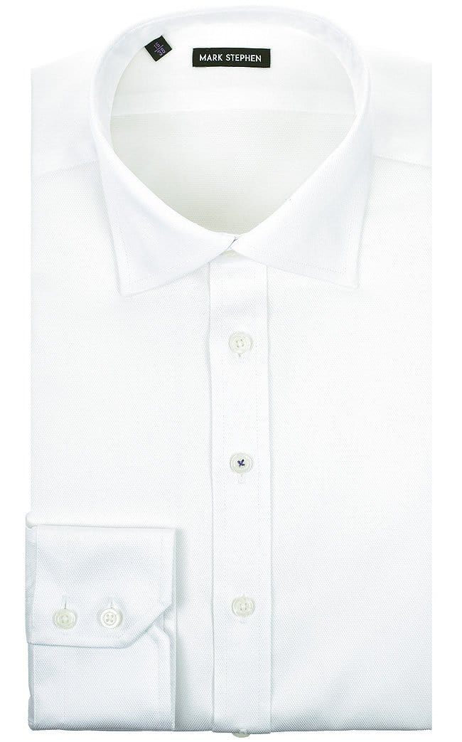 Mark Stephen Regular Fit White Diamond-Weave Shirt