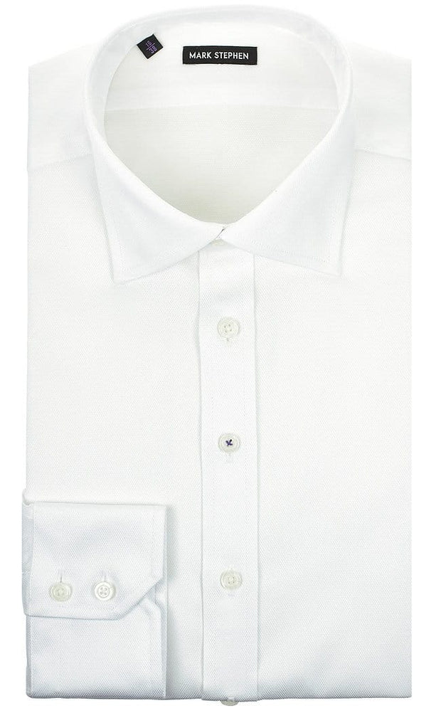 Mark Stephen Regular Fit White Basket-Weave Shirt