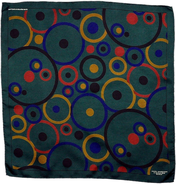 Green Pocket Square - Concentric Circles - Mark marengo