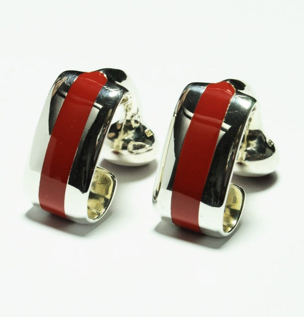 Silver Red Wraparound Cufflinks - Mark marengo