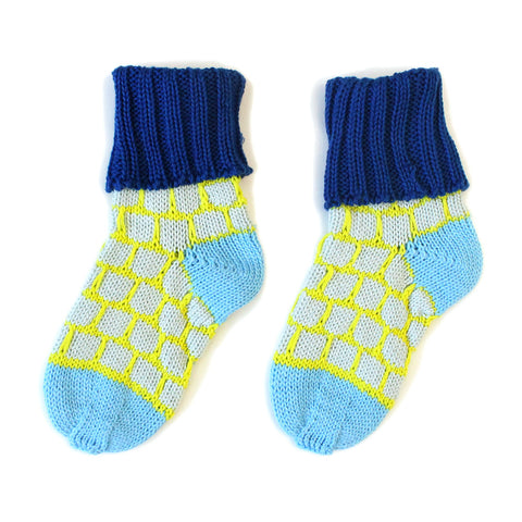 Blue Blocky Cotton Sockies