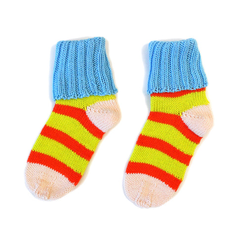 Yellow & Orange Stripey Cotton Sockies