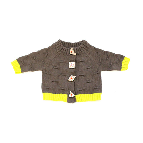 Brown Transfer Raglan Cardigan