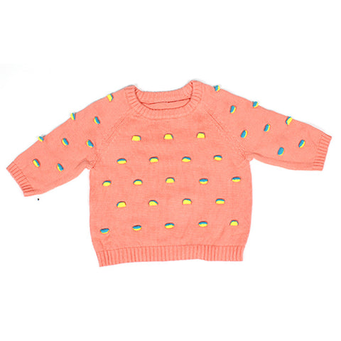 Coral Flappy Raglan Sweater