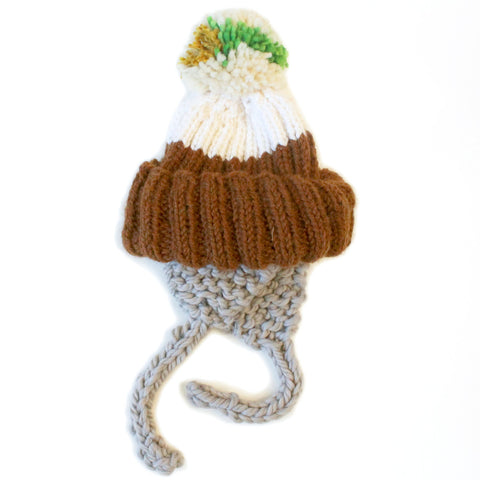 Brown & White Earflap Hand Knit Beanie