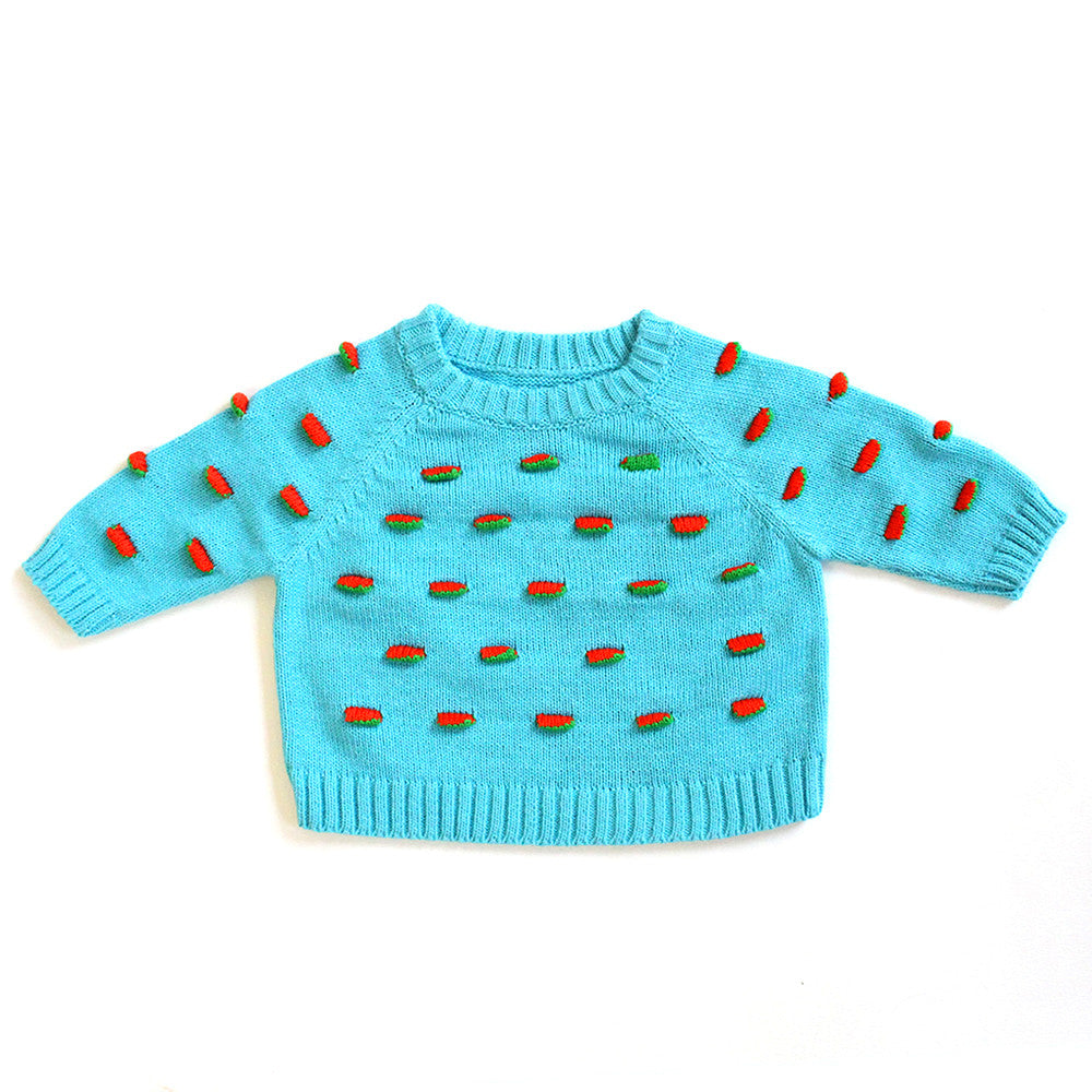 Fall Blue Flappy Raglan Sweater