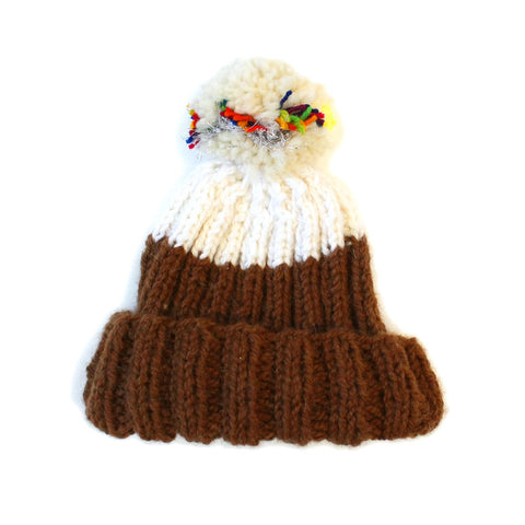 Brown & White Hand Knit Beanie