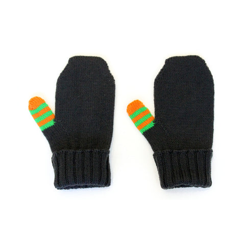 Charcoal Striped Thumb Fine Knit Mitten