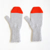 Grey & Red Fine Knit Mitten