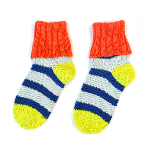 Blue Stripey Cotton Sockies