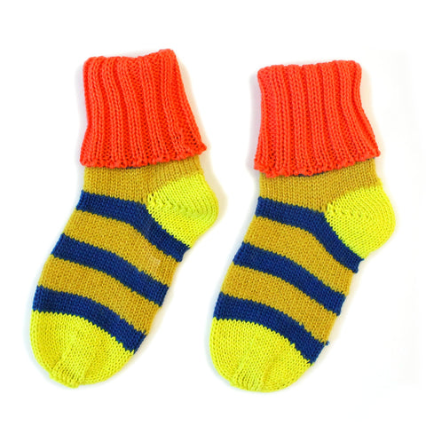 Mustard and Royal Stripe Sockies