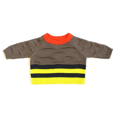 Brown Stripe and Transfer Raglan Sweater