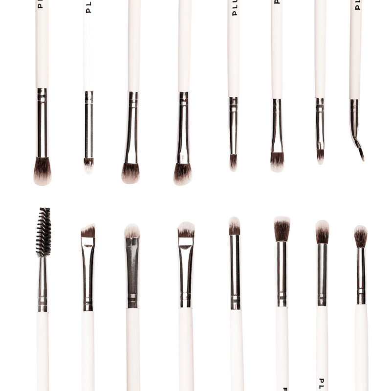 15 Pcs Professional Eye Brush Set with Marble Pouch - Plume Beauty