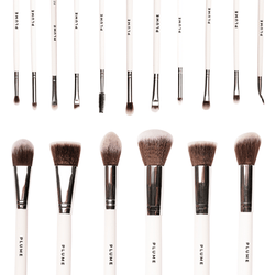 16 Pcs Professional Makeup Brush Set (Face + Eyes) with Marbelicious Makeup Bag - Plume Beauty