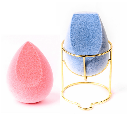 1 Microfiber Sponge (blush) + 1 Microfiber Sponge (contour & baking) + 1 Makeup Sponge Holder (Gold) - Plume Beauty