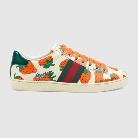 Ace leather sneaker with Gucci Strawberry print