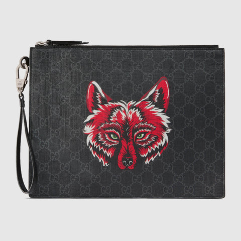 Gucci Bestiary pouch with wolf