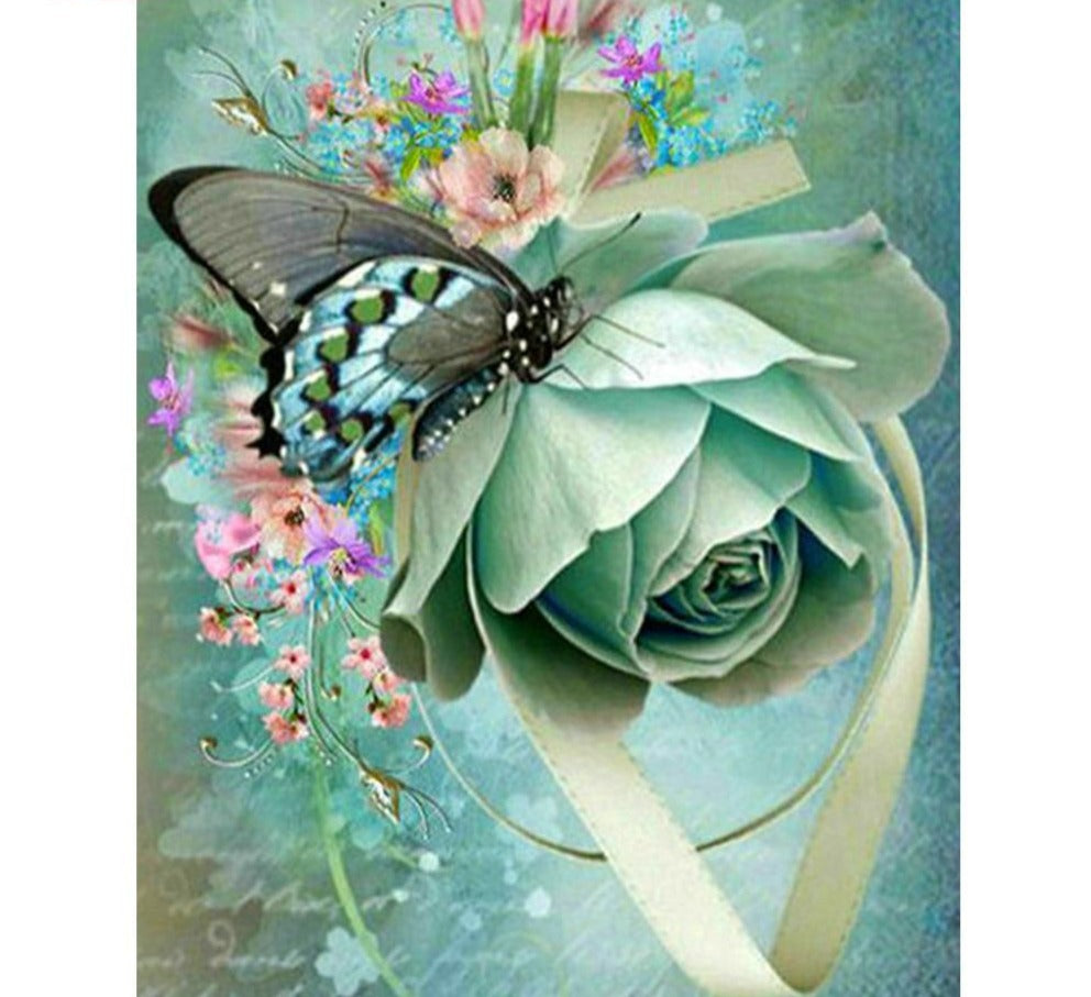 Green Rose With Butterfly - 5d Diamond Painting Kit