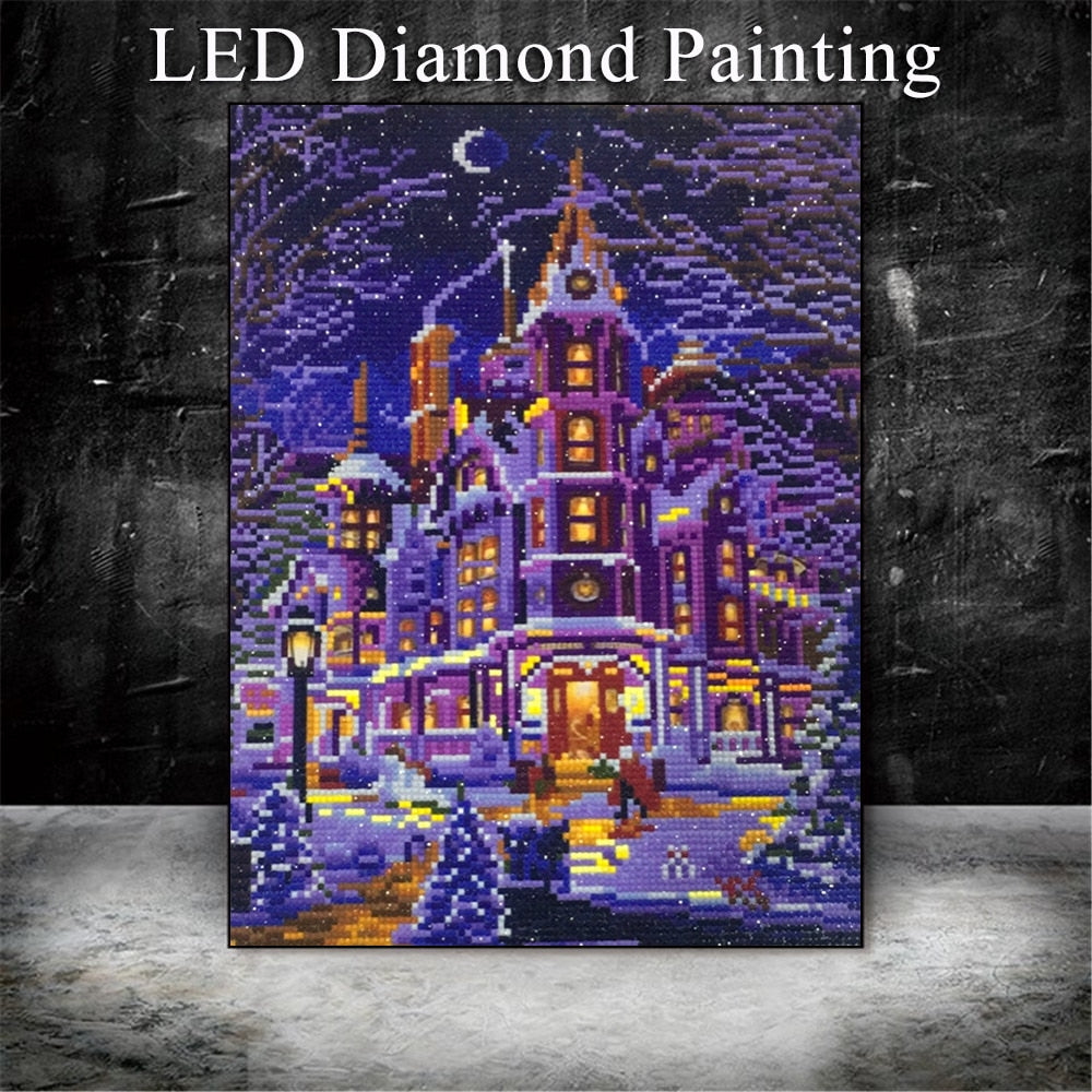 LED Light Winter Landscape - 5d Diamond Painting Kit
