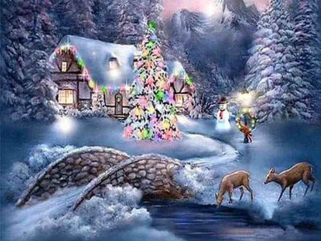 Mosaic Winter House Illustration - 5d Diamond Painting Kit