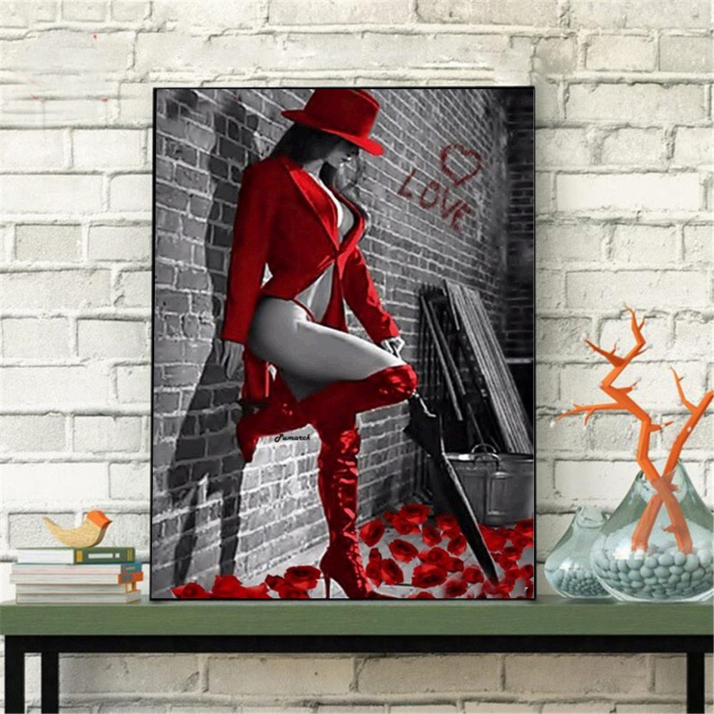 Attractive Woman in Red - 5d Diamond Painting Kit