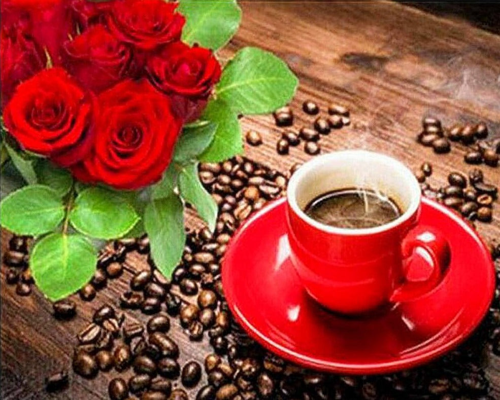 Coffee Beans And Roses - 5d Diamond Painting Kit