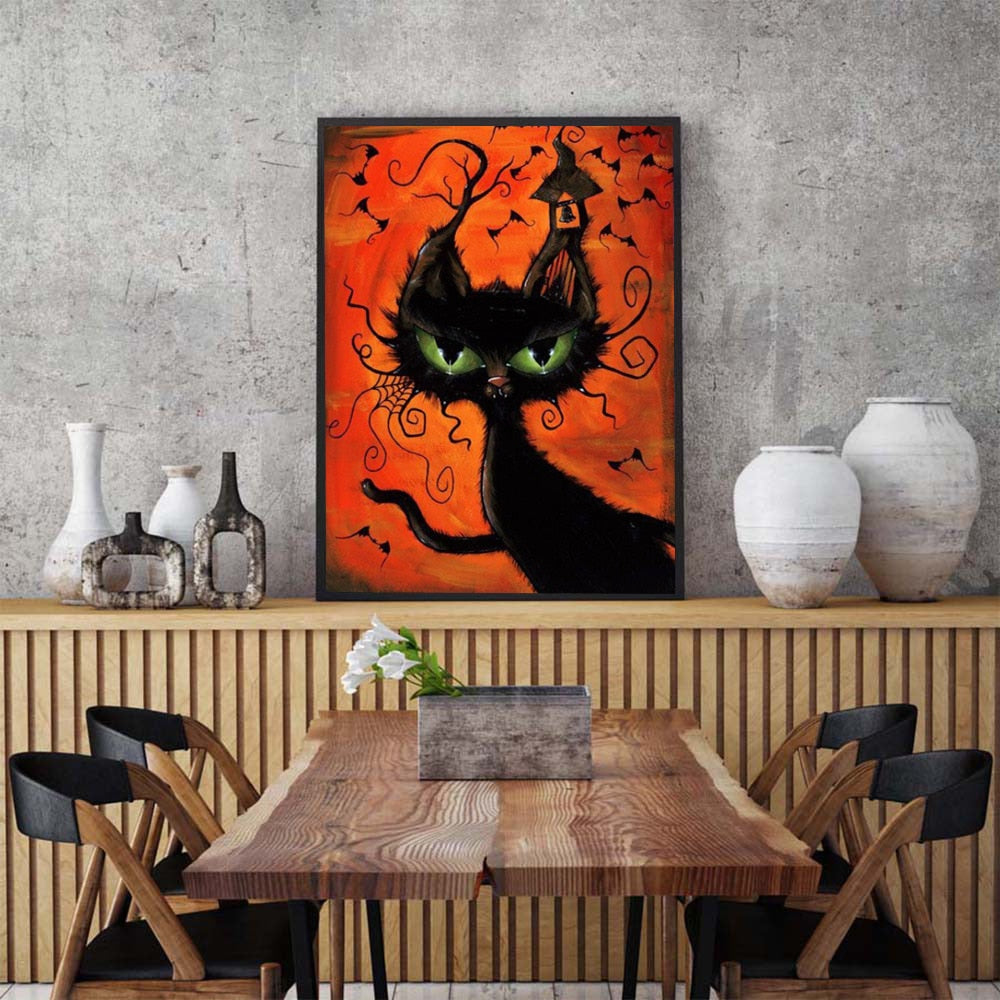Black animated Halloween Cat - 5d Diamond Painting Kit