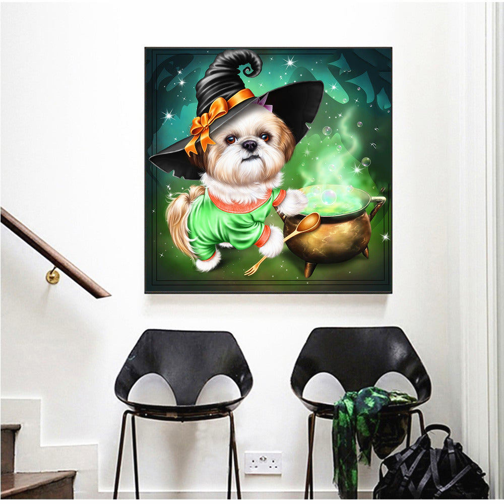 Halloween Dog And Soup - 5d Diamond Painting Kit