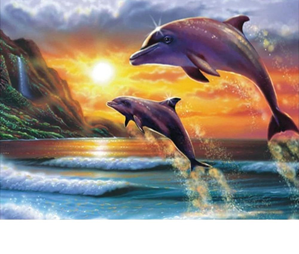 Jumping Dolphins Landscape - 5d Diamond Painting Kit