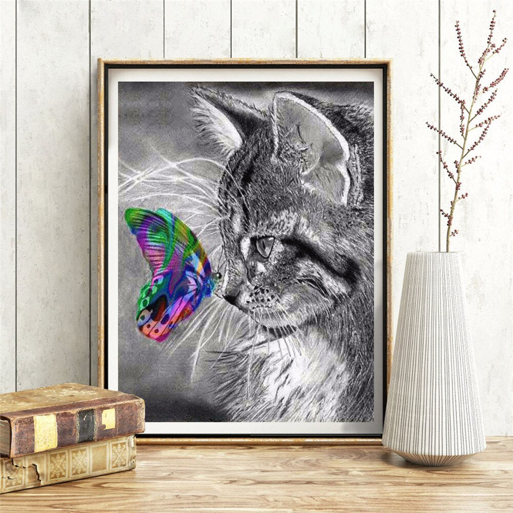 Cat And Butterfly - 5d Diamond Painting Kit