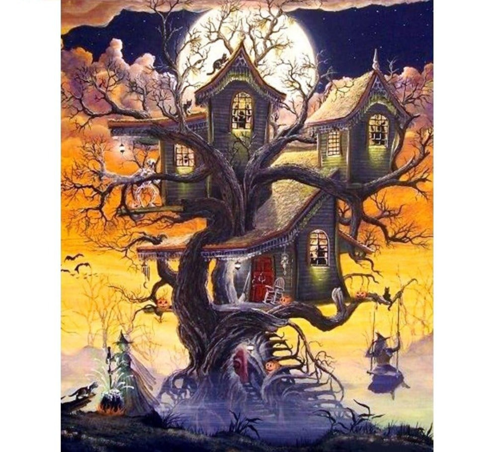 Halloween Cartoon Tree House - 5d Diamond Painting Kit
