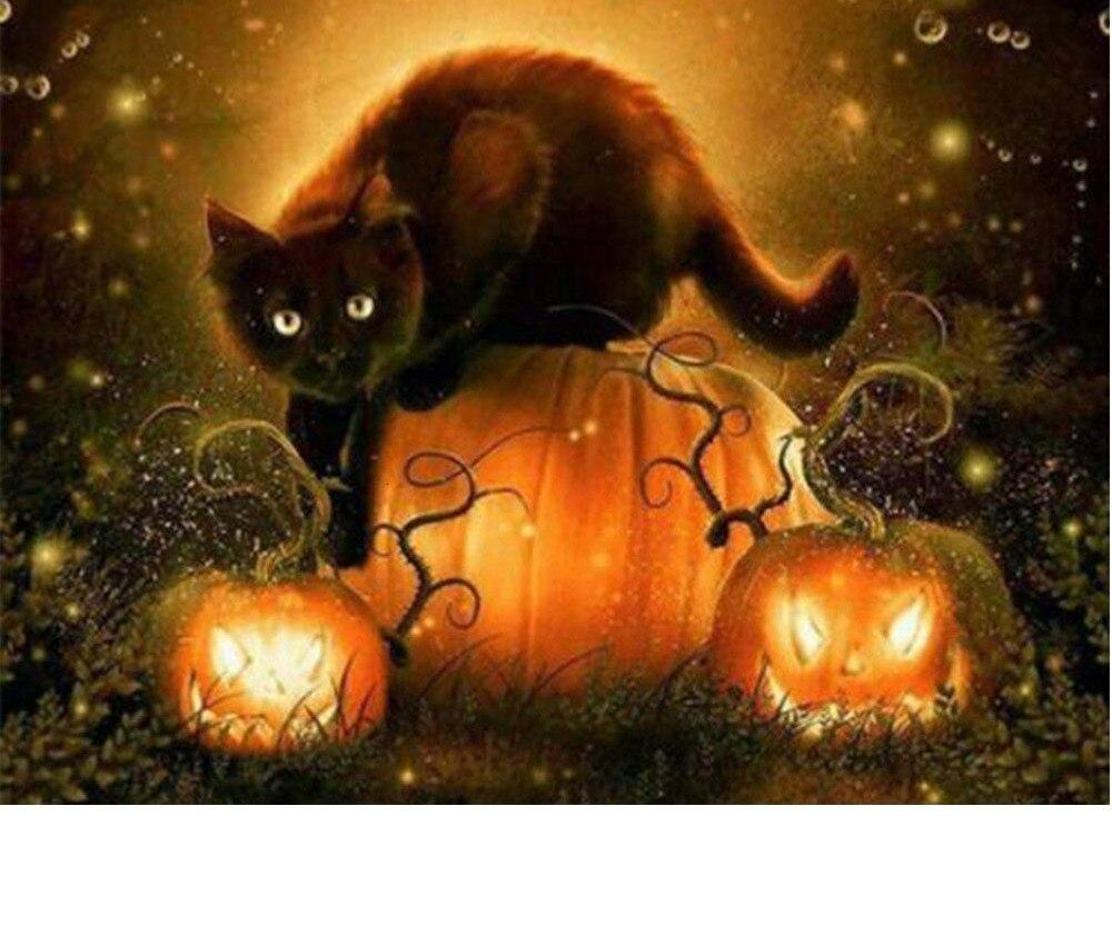 Black Cat Halloween - 5d Diamond Painting Kit