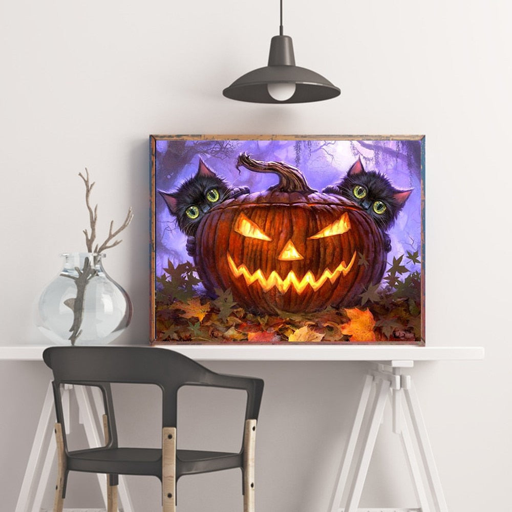 Pumpkin And Cats - 5d Diamond Painting Kit